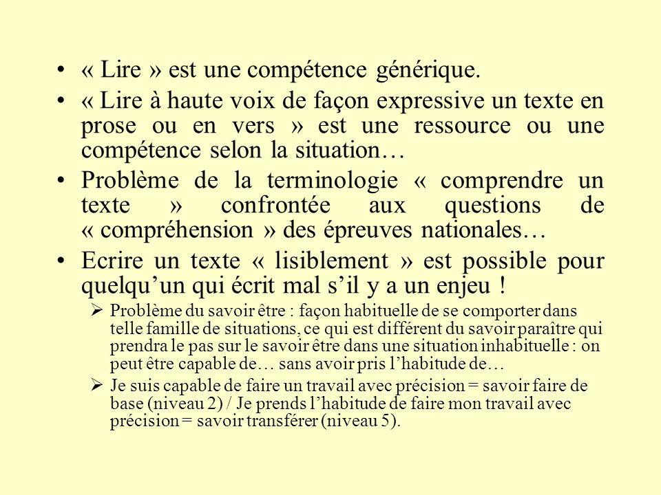 « Lire » est une compétence générique. « Lire à haute voix de façon expressive un texte en prose ou en vers » est une ressource ou une compétence selo