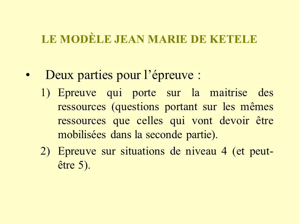 LE MODÈLE JEAN MARIE DE KETELE Deux parties pour lépreuve : 1)Epreuve qui porte sur la maitrise des ressources (questions portant sur les mêmes ressou