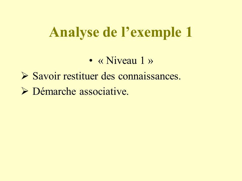 Analyse de lexemple 1 « Niveau 1 » Savoir restituer des connaissances. Démarche associative.