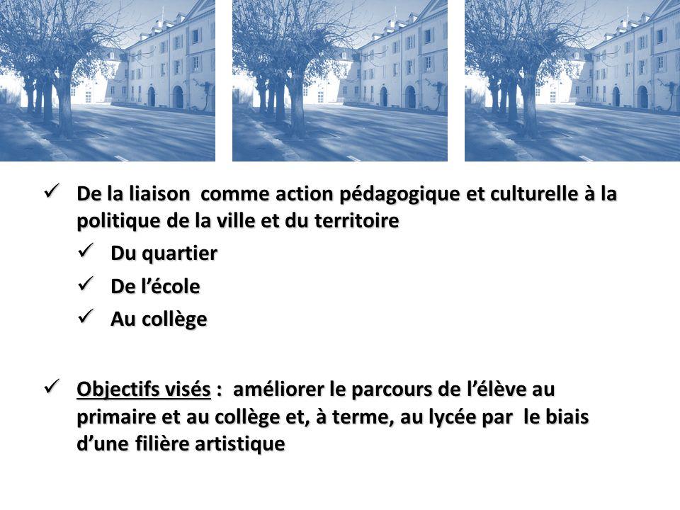 De la liaison comme action pédagogique et culturelle à la politique de la ville et du territoire De la liaison comme action pédagogique et culturelle