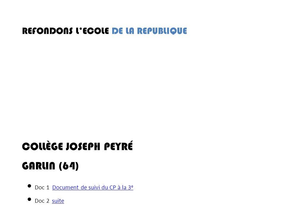 REFONDONS LECOLE DE LA REPUBLIQUE COLLÈGE JOSEPH PEYRÉ GARLIN (64) Doc 1 Document de suivi du CP à la 3 eDocument de suivi du CP à la 3 e Doc 2 suite