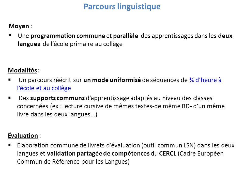 Parcours linguistique Moyen : Une programmation commune et parallèle des apprentissages dans les deux langues de lécole primaire au collège Modalités