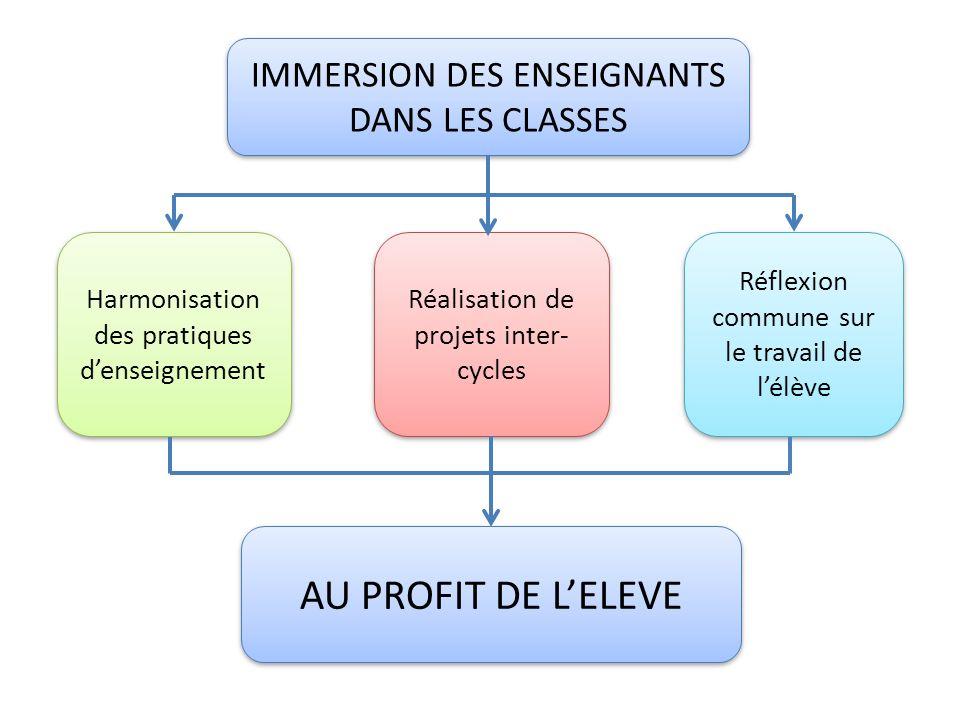 IMMERSION DES ENSEIGNANTS DANS LES CLASSES Harmonisation des pratiques denseignement Réalisation de projets inter- cycles Réflexion commune sur le tra