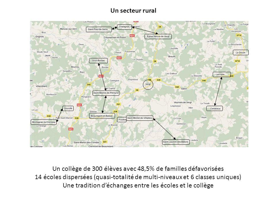 Un collège de 300 élèves avec 48,5% de familles défavorisées 14 écoles dispersées (quasi-totalité de multi-niveaux et 6 classes uniques) Une tradition