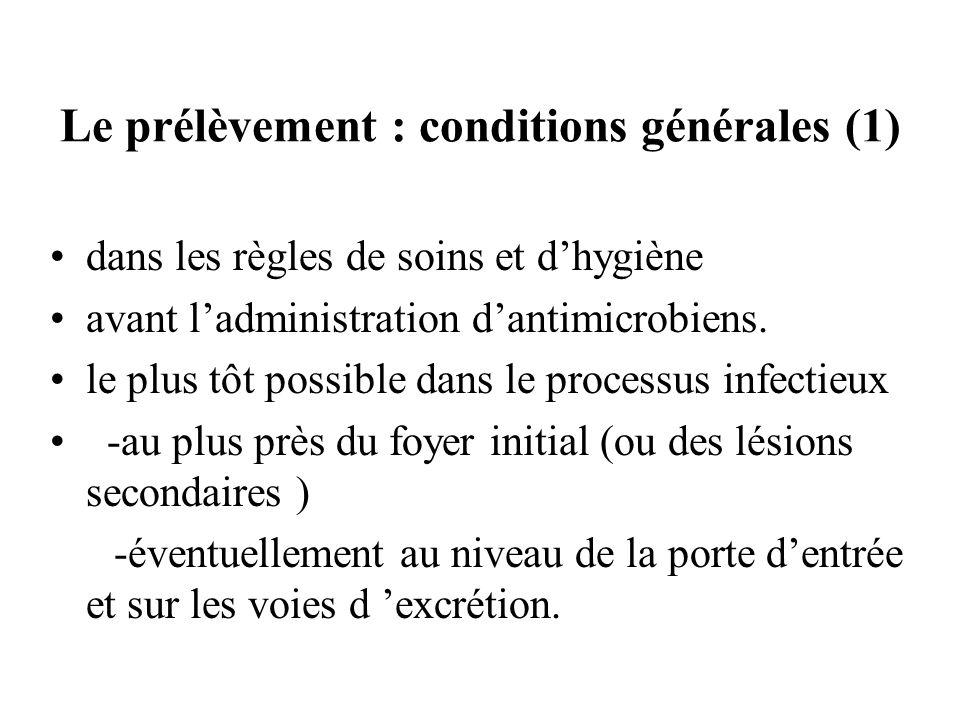 Le prélèvement : conditions générales (1) dans les règles de soins et dhygiène avant ladministration dantimicrobiens. le plus tôt possible dans le pro