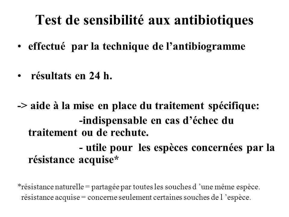 Test de sensibilité aux antibiotiques effectué par la technique de lantibiogramme résultats en 24 h. -> aide à la mise en place du traitement spécifiq