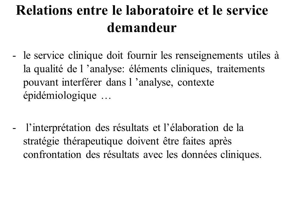 Relations entre le laboratoire et le service demandeur -le service clinique doit fournir les renseignements utiles à la qualité de l analyse: éléments