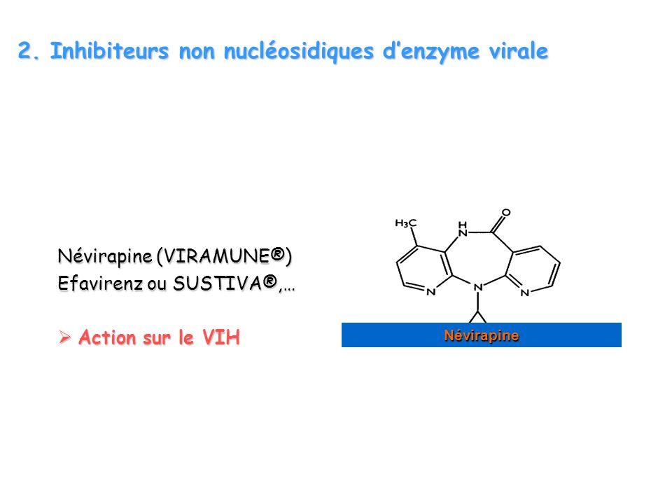 2. Inhibiteurs non nucléosidiques denzyme virale Névirapine (VIRAMUNE®) Efavirenz ou SUSTIVA®,… Action sur le VIH Action sur le VIH Névirapine