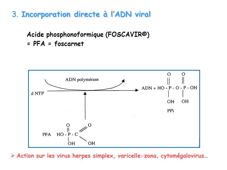 3. Incorporation directe à lADN viral Acide phosphonoformique (FOSCAVIR®) = PFA = foscarnet Action sur les virus herpes simplex, varicelle-zona, cytom