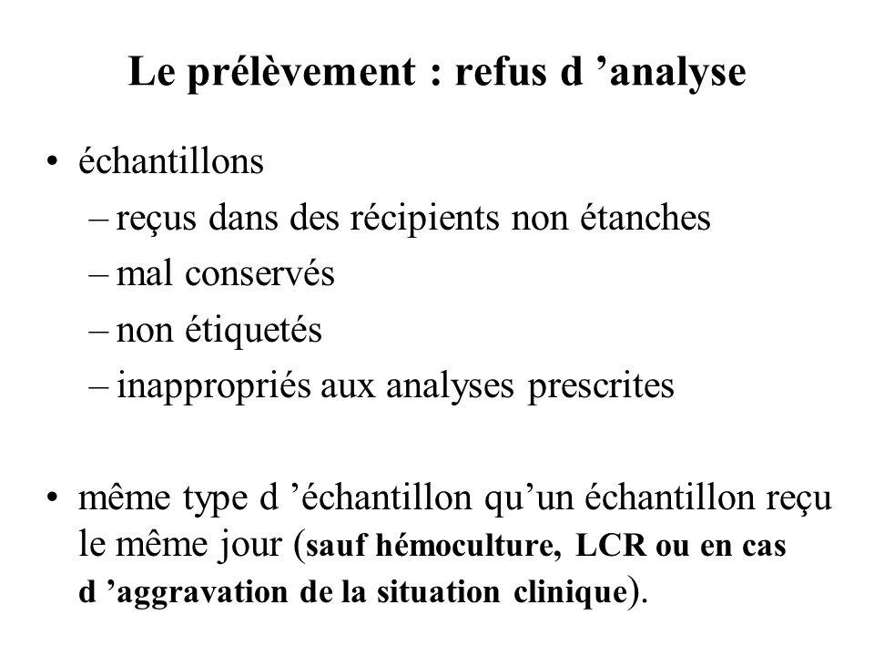 Le prélèvement : refus d analyse échantillons –reçus dans des récipients non étanches –mal conservés –non étiquetés –inappropriés aux analyses prescri