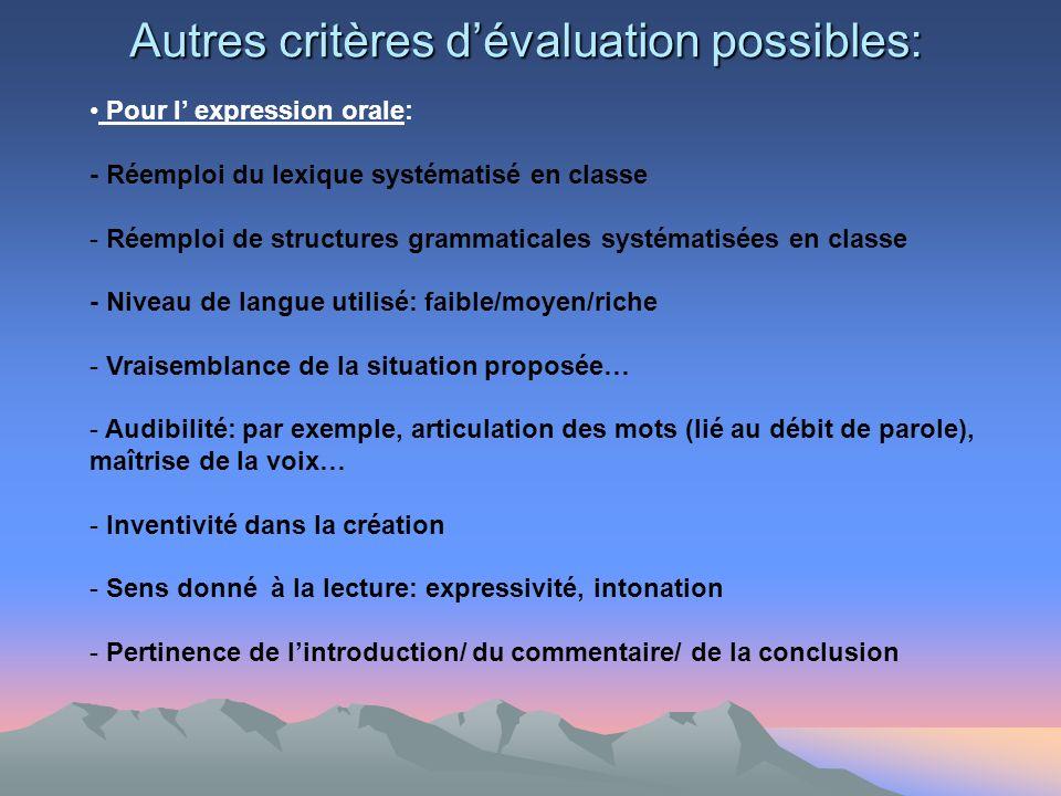 /5 /4 /3 /2 /0 Autres critères dévaluation possibles: Pour l expression orale: - Réemploi du lexique systématisé en classe - Réemploi de structures gr