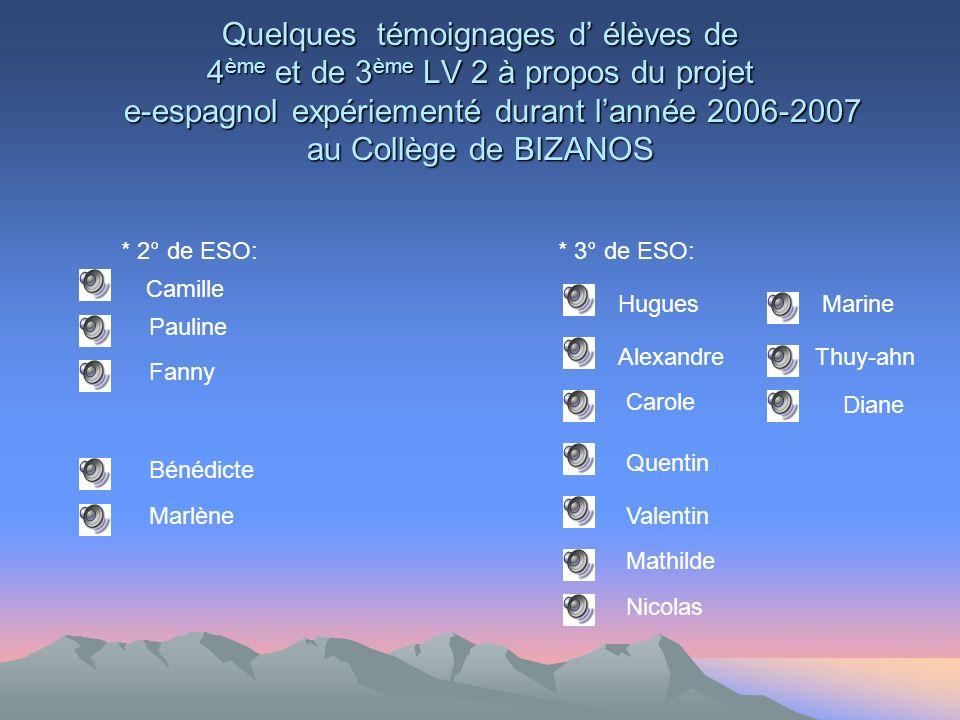 Quelques témoignages d élèves de 4 ème et de 3 ème LV 2 à propos du projet e-espagnol expériementé durant lannée 2006-2007 au Collège de BIZANOS Camil