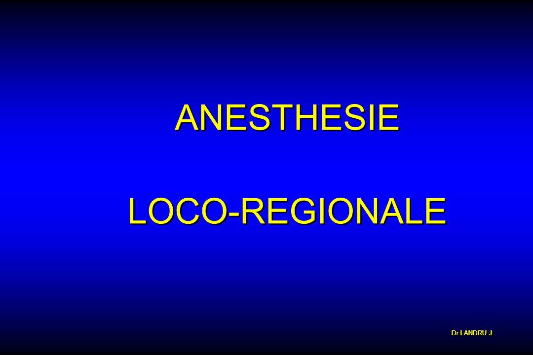 Dr LANDRU J ANESTHESIE LOCO-REGIONALE ANESTHESIE LOCO-REGIONALE