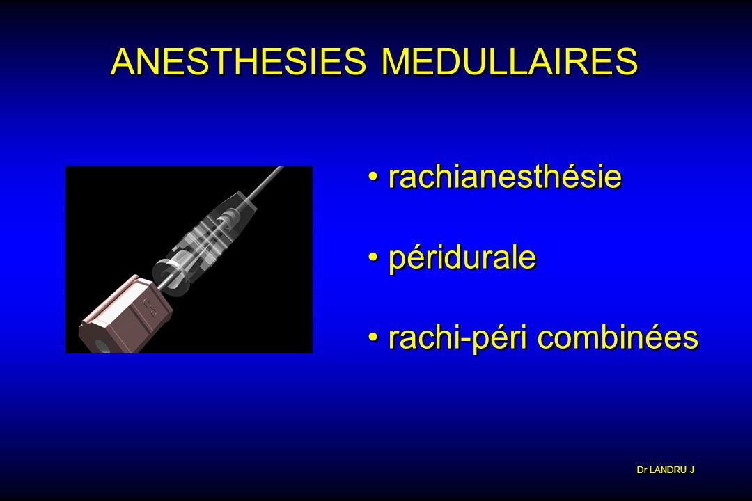 Dr LANDRU J ANESTHESIES MEDULLAIRES rachianesthésie péridurale rachi-péri combinées rachianesthésie péridurale rachi-péri combinées