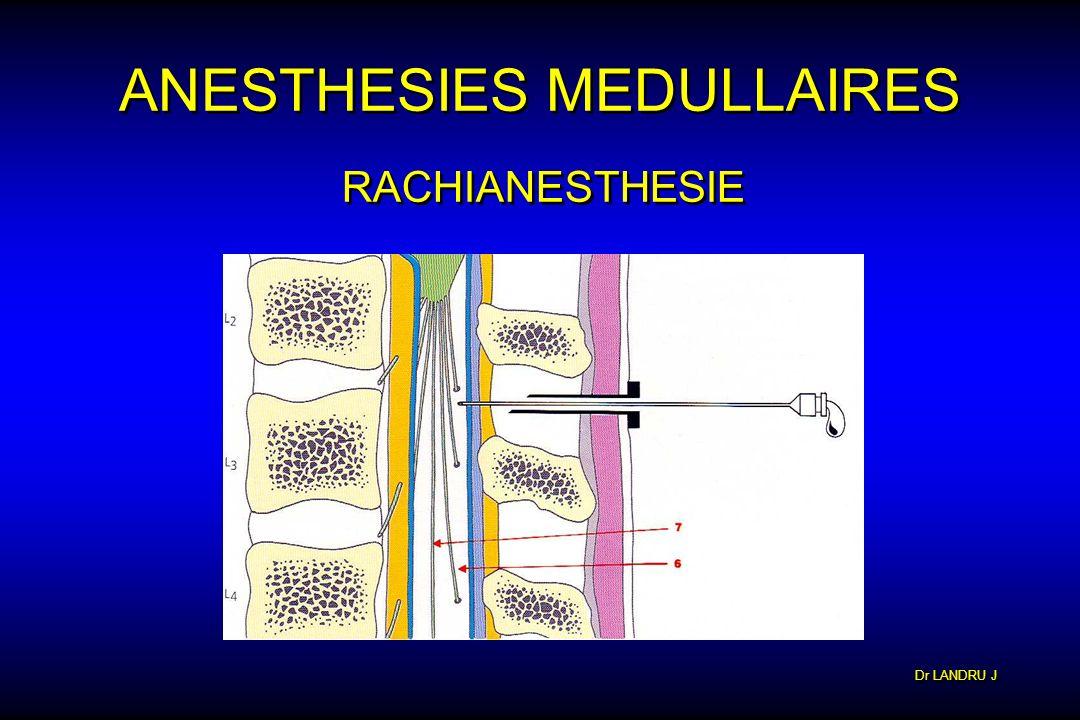 Dr LANDRU J ANESTHESIES MEDULLAIRES RACHIANESTHESIE