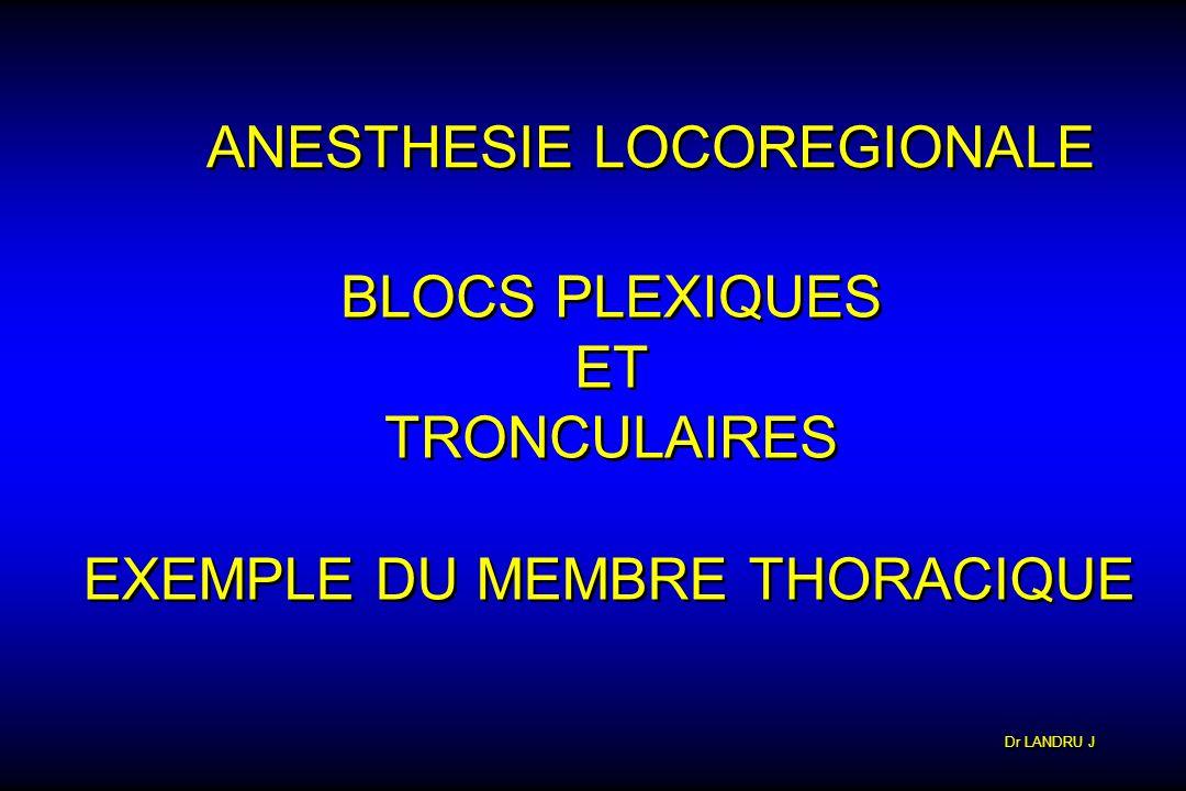 Dr LANDRU J ANESTHESIE LOCOREGIONALE BLOCS PLEXIQUES ET TRONCULAIRES BLOCS PLEXIQUES ET TRONCULAIRES EXEMPLE DU MEMBRE THORACIQUE