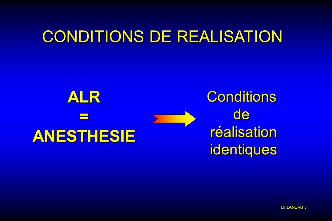 CONDITIONS DE REALISATION ALR = ANESTHESIE ALR = ANESTHESIE Conditions de réalisation identiques Conditions de réalisation identiques