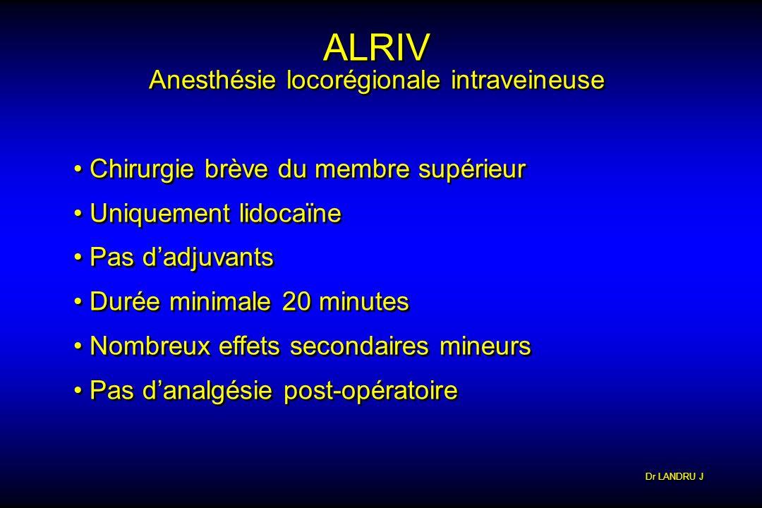 Dr LANDRU J ALRIV Anesthésie locorégionale intraveineuse ALRIV Anesthésie locorégionale intraveineuse Chirurgie brève du membre supérieur Uniquement l