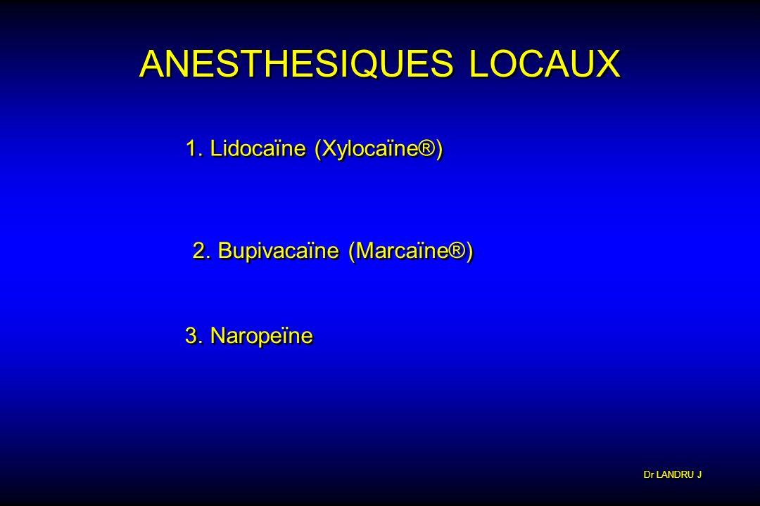 Dr LANDRU J ANESTHESIQUES LOCAUX 1.Lidocaïne (Xylocaïne®) 2.Bupivacaïne (Marcaïne®) 3.Naropeïne