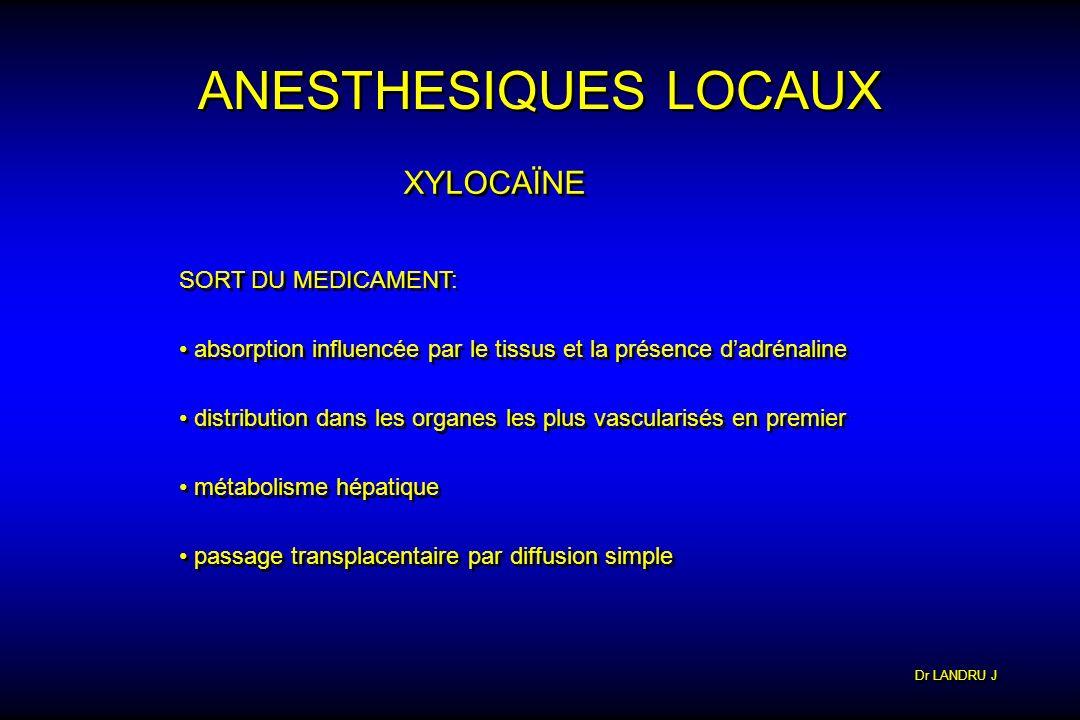 Dr LANDRU J ANESTHESIQUES LOCAUX XYLOCAÏNE SORT DU MEDICAMENT: absorption influencée par le tissus et la présence dadrénaline distribution dans les or
