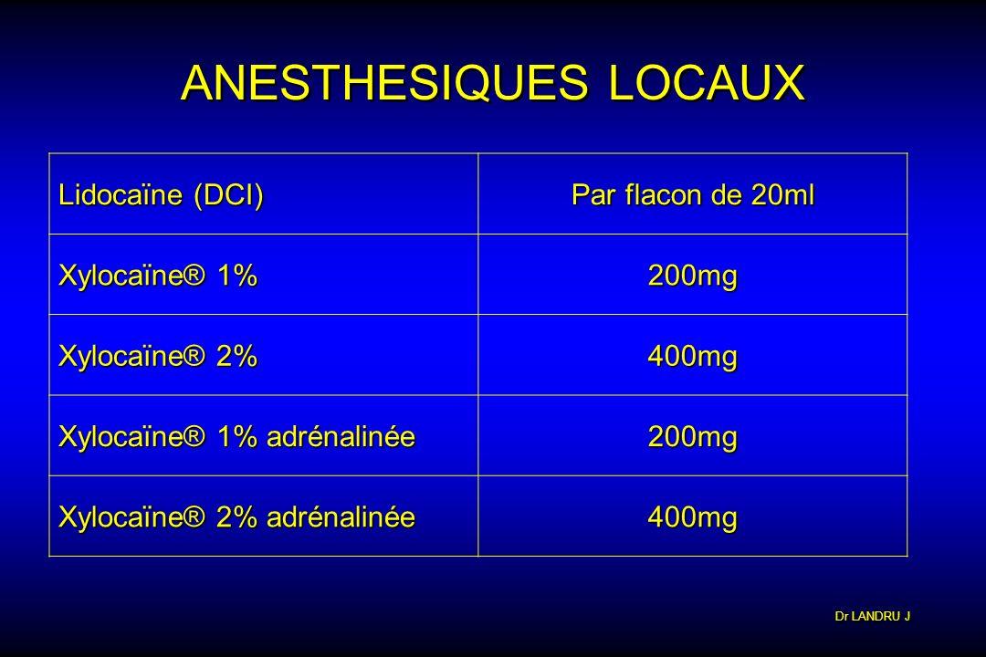Dr LANDRU J ANESTHESIQUES LOCAUX Lidocaïne (DCI) Par flacon de 20ml Xylocaïne® 1% 200mg Xylocaïne® 2% 400mg Xylocaïne® 1% adrénalinée 200mg Xylocaïne®
