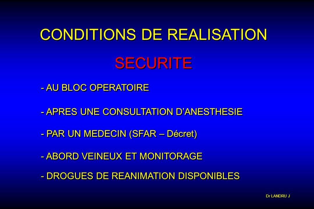 Dr LANDRU J CONDITIONS DE REALISATION SECURITE - AU BLOC OPERATOIRE - APRES UNE CONSULTATION DANESTHESIE - PAR UN MEDECIN (SFAR – Décret) - ABORD VEIN