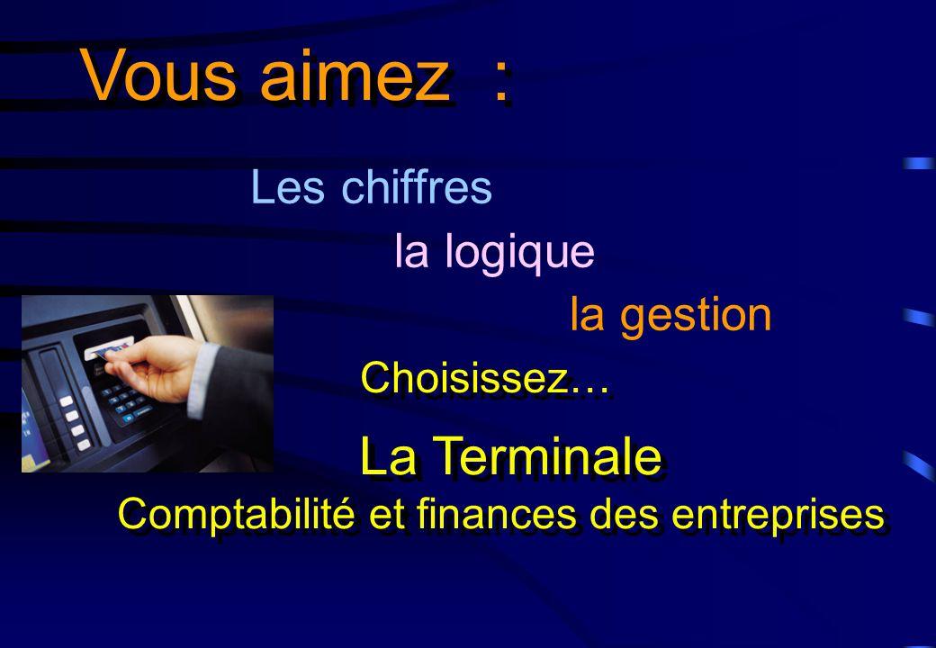 Les chiffres la logique la gestion Vous aimez : La Terminale Comptabilité et finances des entreprises La Terminale Comptabilité et finances des entrep