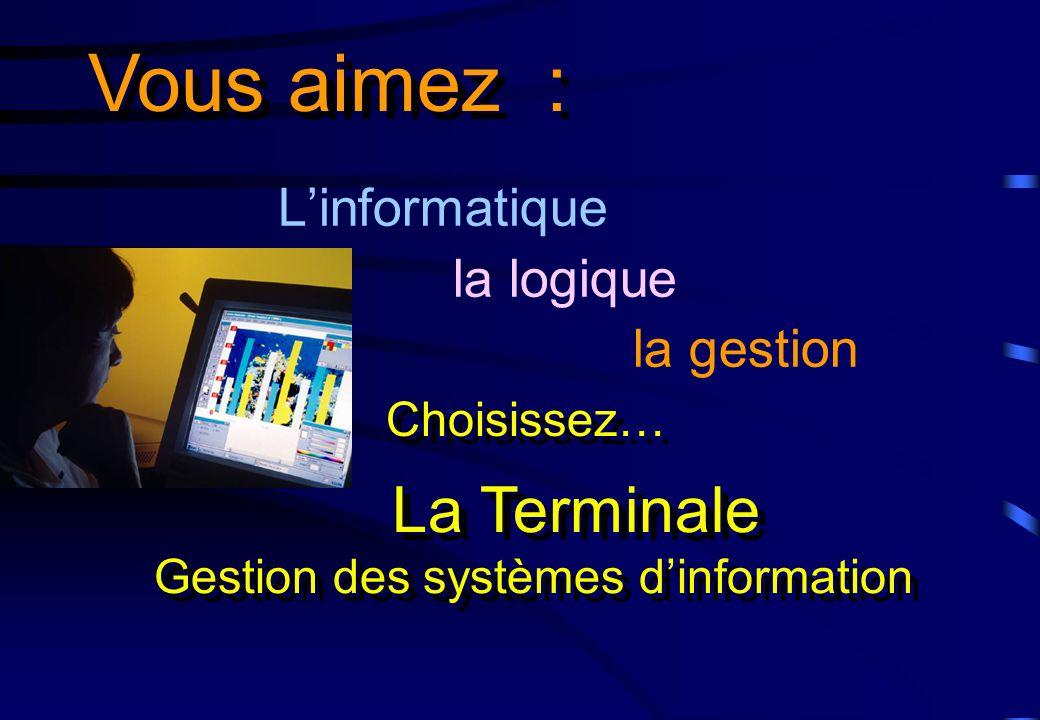Linformatique la logique la gestion Vous aimez : La Terminale Gestion des systèmes dinformation La Terminale Gestion des systèmes dinformation Choisis
