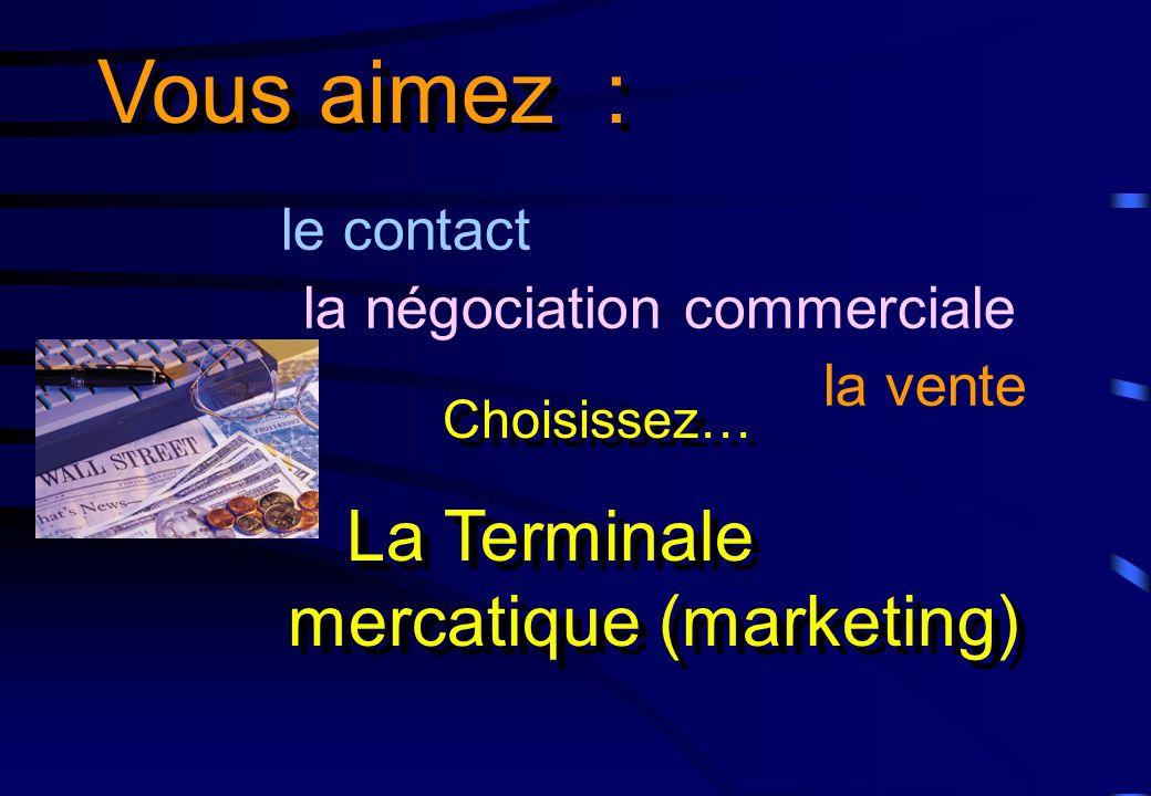 le contact la négociation commerciale la vente Vous aimez : La Terminale mercatique (marketing) Choisissez…
