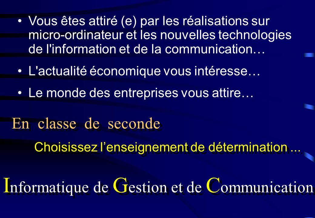 Le monde des entreprises vous attire… Choisissez lenseignement de détermination... I nformatique de G estion et de C ommunication En classe de seconde
