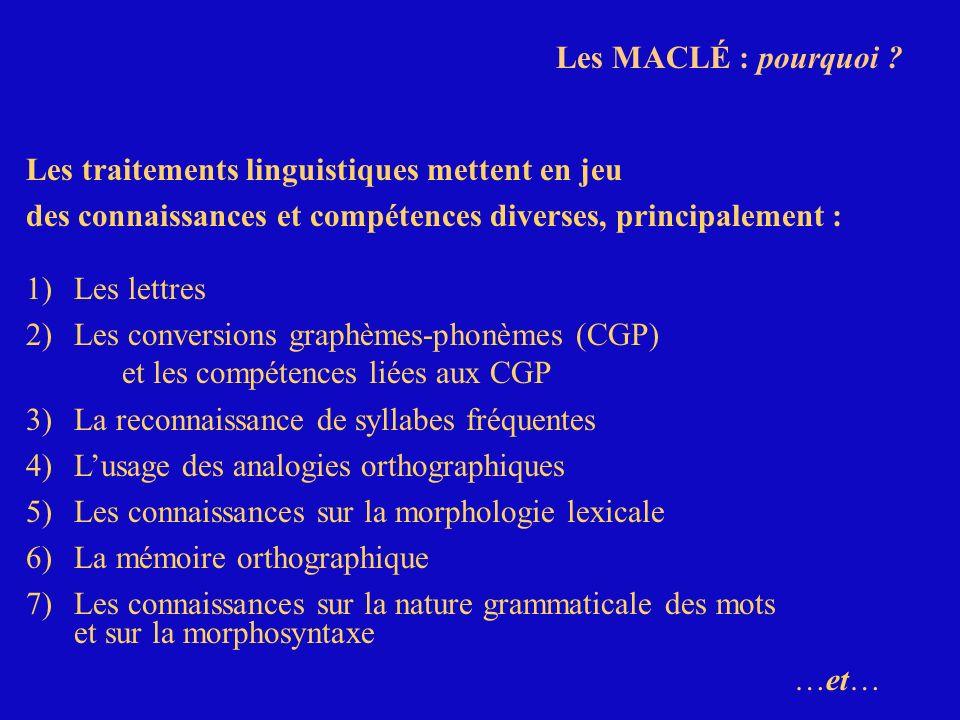 Les MACLÉ : pourquoi ? Les traitements linguistiques mettent en jeu des connaissances et compétences diverses, principalement : 1)Les lettres 2)Les co