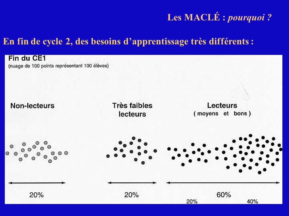 En fin de cycle 2, des besoins dapprentissage très différents : Les MACLÉ : pourquoi ?