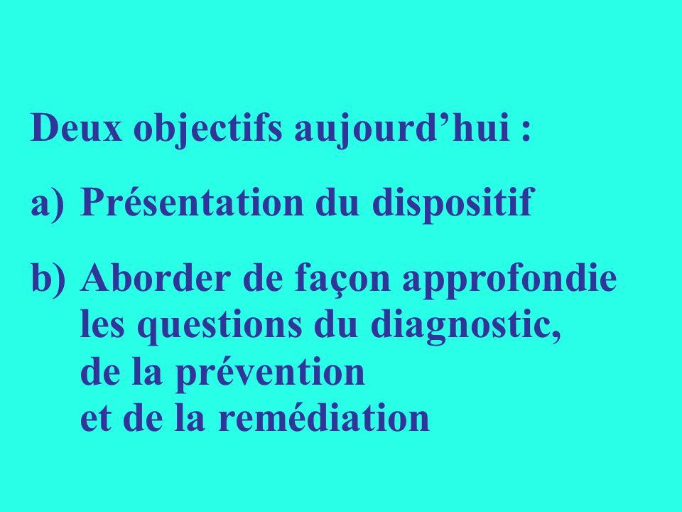 Deux objectifs aujourdhui : a)Présentation du dispositif b) Aborder de façon approfondie les questions du diagnostic, de la prévention et de la remédi