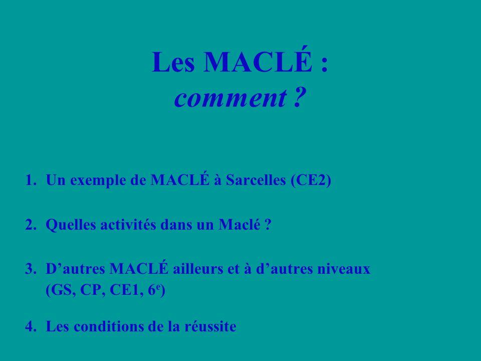 1.Un exemple de MACLÉ à Sarcelles (CE2) 2.Quelles activités dans un Maclé ? 3.Dautres MACLÉ ailleurs et à dautres niveaux (GS, CP, CE1, 6 e ) 4.Les co
