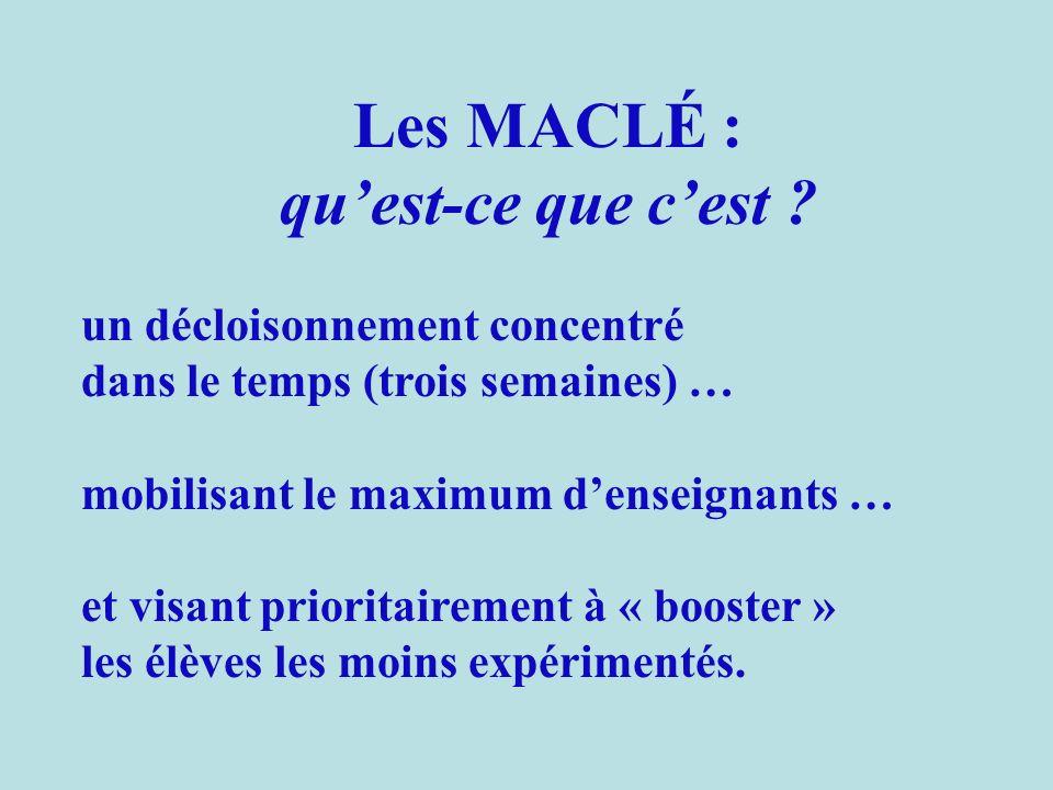 1.Un exemple de MACLÉ à Sarcelles (CE2) : Une organisation décloisonnée toutes les matinées pendant trois semaines LundiMardiJeudiVendrediLundiMardiJeudiVendredi MatinMaclé Après-midi Les MACLÉ : comment ?