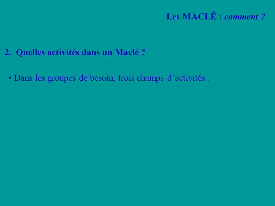 2. Quelles activités dans un Maclé ? Dans les groupes de besoin, trois champs dactivités : Les MACLÉ : comment ?
