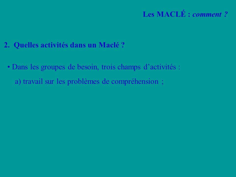 2. Quelles activités dans un Maclé ? Dans les groupes de besoin, trois champs dactivités : a) travail sur les problèmes de compréhension ; Les MACLÉ :