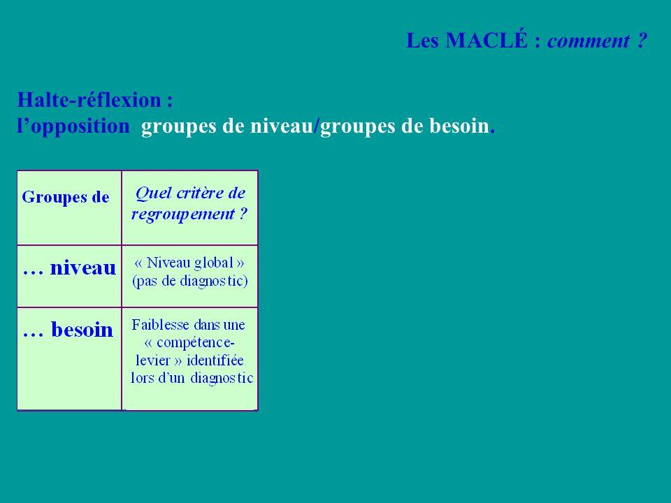 Halte-réflexion : lopposition groupes de niveau/groupes de besoin. Les MACLÉ : comment ?