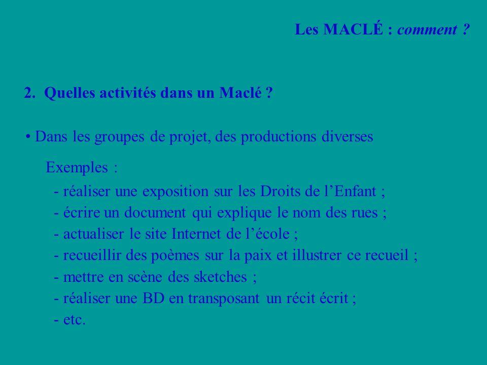 2. Quelles activités dans un Maclé ? Dans les groupes de projet, des productions diverses Exemples : - réaliser une exposition sur les Droits de lEnfa