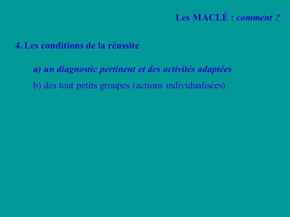 4.Les conditions de la réussite a) un diagnostic pertinent et des activités adaptées b) des tout petits groupes (actions individualisées) Les MACLÉ :