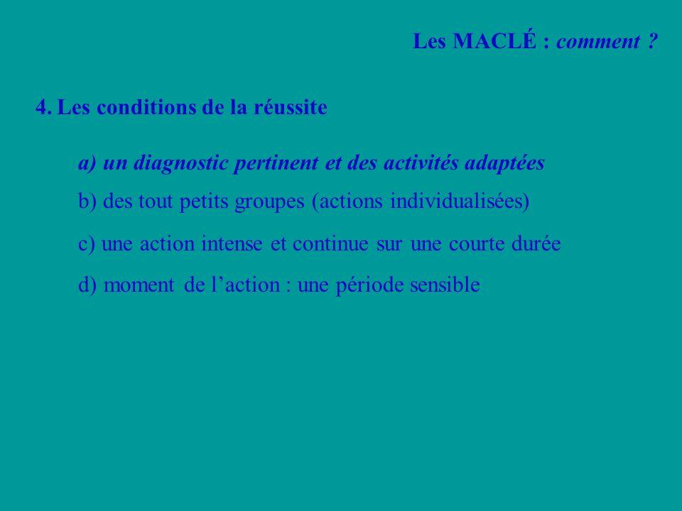 4.Les conditions de la réussite a) un diagnostic pertinent et des activités adaptées b) des tout petits groupes (actions individualisées) c) une actio