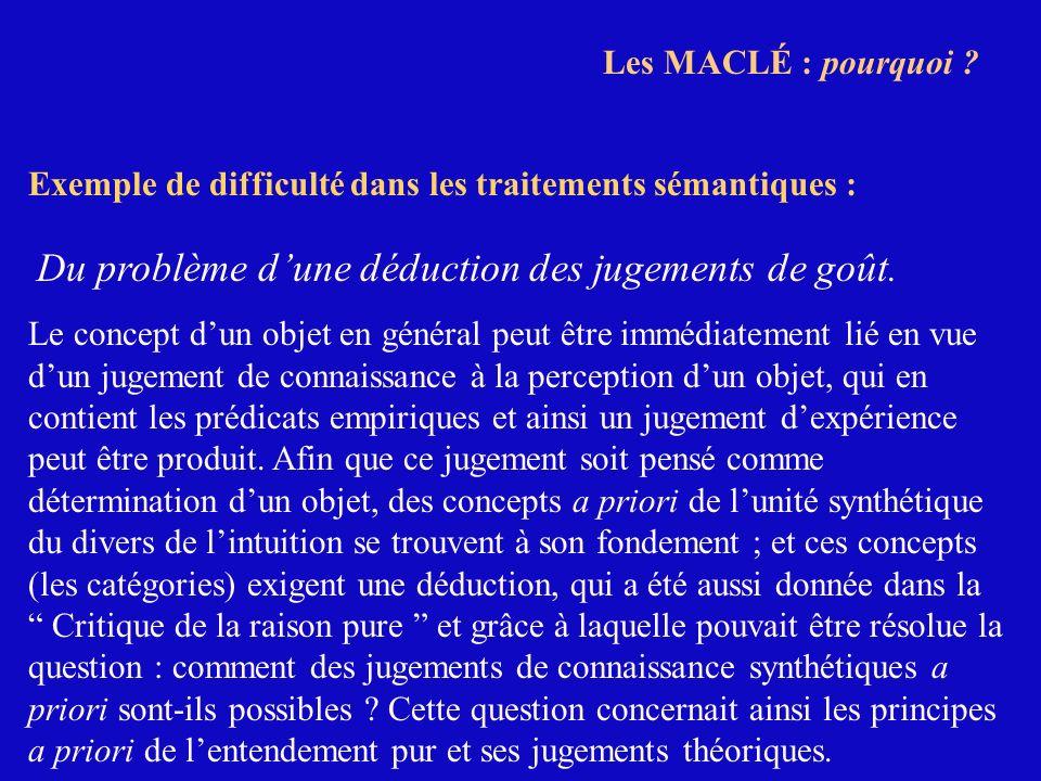 Les MACLÉ : pourquoi ? Exemple de difficulté dans les traitements sémantiques : Du problème dune déduction des jugements de goût. Le concept dun objet
