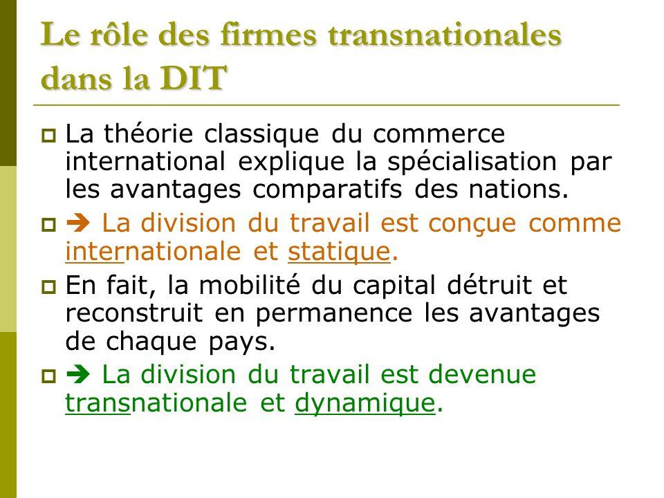 Le rôle des firmes transnationales dans la DIT La théorie classique du commerce international explique la spécialisation par les avantages comparatifs