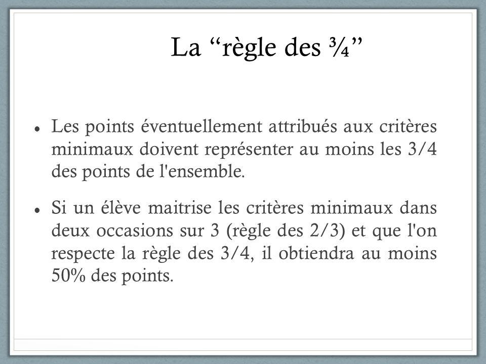 La règle des ¾ Les points éventuellement attribués aux critères minimaux doivent représenter au moins les 3/4 des points de l'ensemble. Si un élève ma