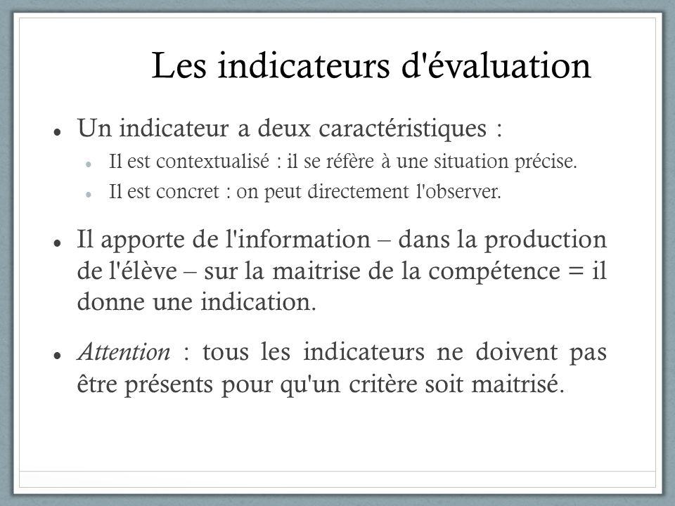 Les indicateurs d'évaluation Un indicateur a deux caractéristiques : Il est contextualisé : il se réfère à une situation précise. Il est concret : on