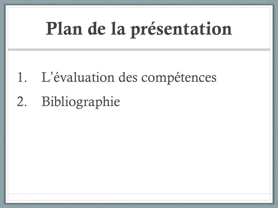 Plan de la présentation 1.L évaluation des compétences 2.Bibliographie