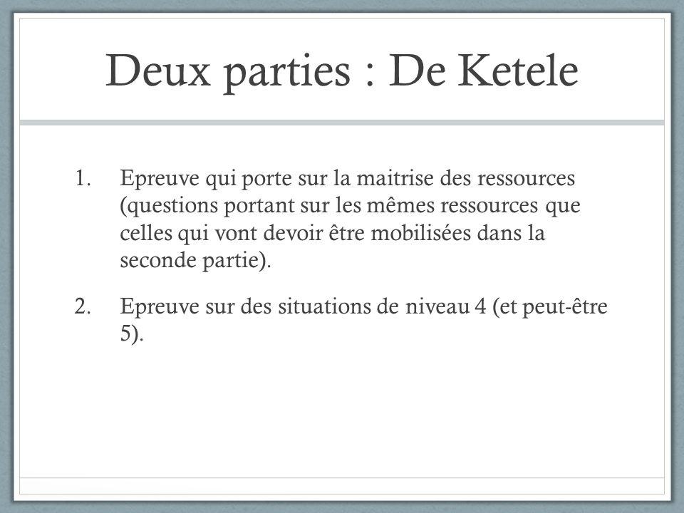 Deux parties : De Ketele 1.Epreuve qui porte sur la maitrise des ressources (questions portant sur les mêmes ressources que celles qui vont devoir êtr