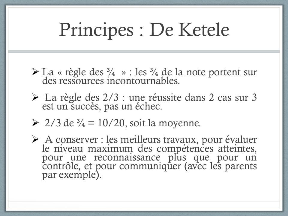 Principes : De Ketele La « règle des ¾ » : les ¾ de la note portent sur des ressources incontournables. La règle des 2/3 : une réussite dans 2 cas sur