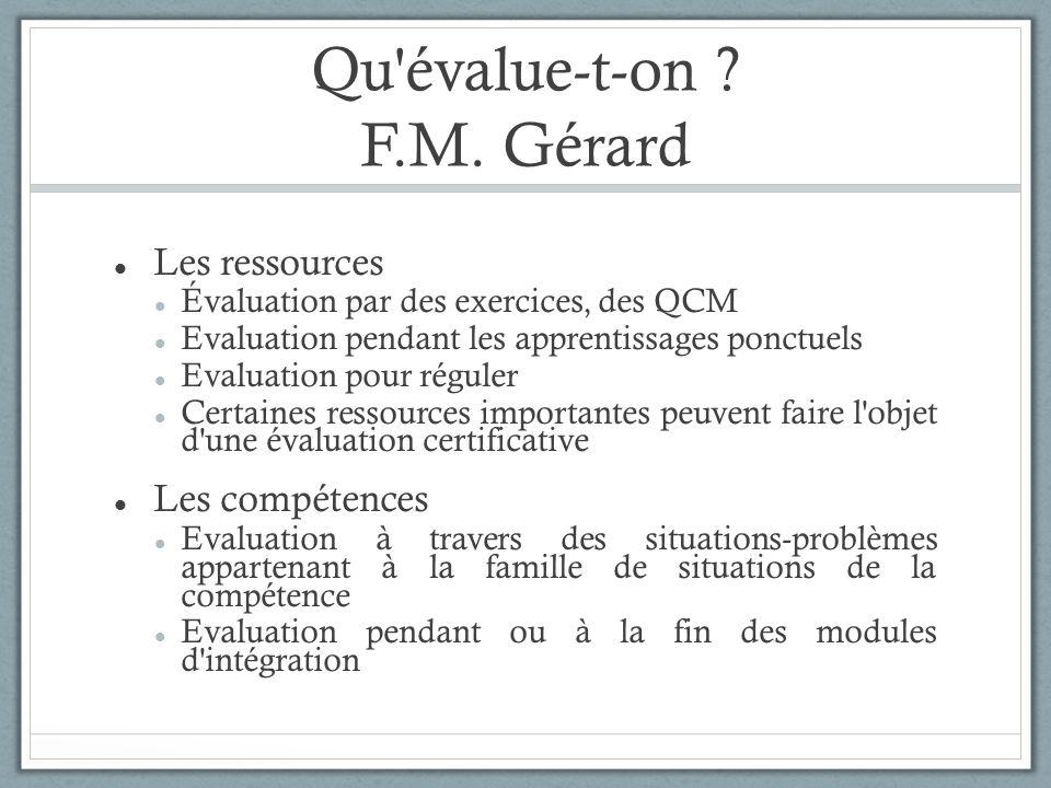 Qu'évalue-t-on ? F.M. Gérard Les ressources Évaluation par des exercices, des QCM Evaluation pendant les apprentissages ponctuels Evaluation pour régu