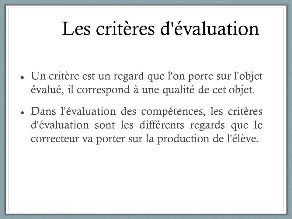 Les critères d'évaluation Un critère est un regard que l'on porte sur l'objet évalué, il correspond à une qualité de cet objet. Dans l'évaluation des